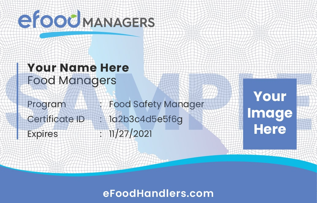 Sample Food Managers Card
